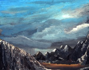 Storm Coming  Storm Coming................  16x20 Acrylic on Board $100.00  When my daughter was very young we lived in Denver for a while. Afternoon drives into the Rocky Mountains were a new experience for me. So different from the rolling forested mountains of Appalachia where I grew up.