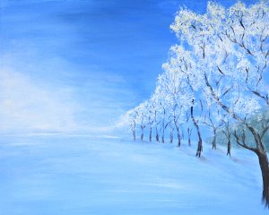 Winter Lane  Winter Lane....................16x20 Acrylic on Canvas $80.00  There is a stillness after the first heavy snow; almost as if the whole earth is holding it's breath.